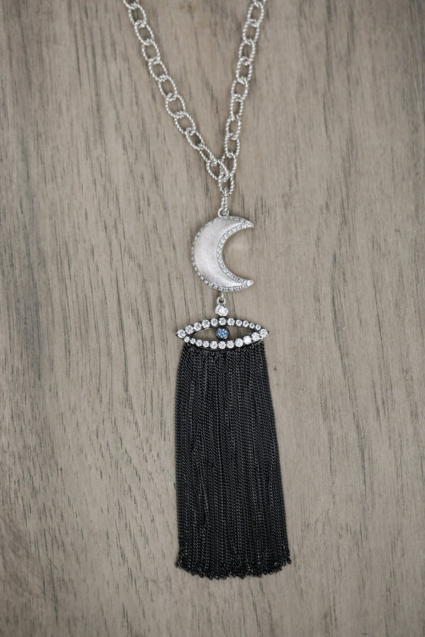 Ammanii Moon with Evil Eye Necklace and Tassels in Black rhodium