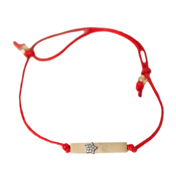 Ammanii Red Silk String Friendship Bracelet with Pave Star- Vermeil Gold