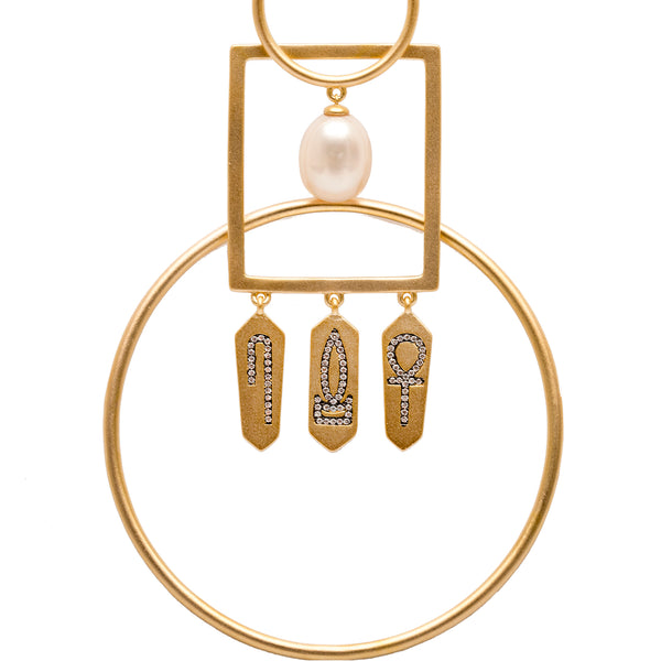 Interlocked Hoop Earrings Vermeil with Hieroglyphic Amulets