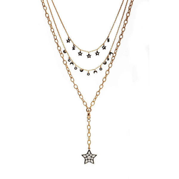 Ammanii Multi-Strand Moon and Stars Charms Necklace in Vermeil Gold