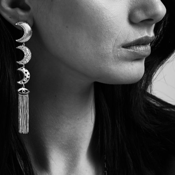 Linear Moons Earrings with Evil Eye Tassels in White Rhodium