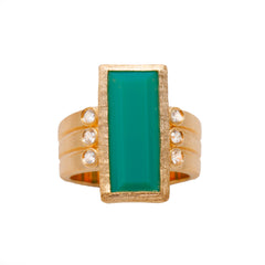 Ammanii The Queen Statement Ring Vermeil Gold with Green Gemstone