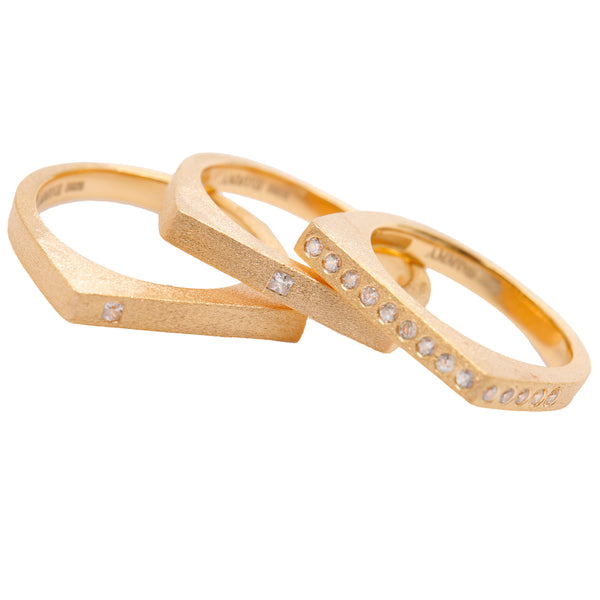 The Life Force 18k Gold Vermeil Stacking Ring Set of 3 - AMMANII