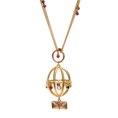 Ammanii Message of Peace Necklace with Garnet Chain 18k Vermeil Gold