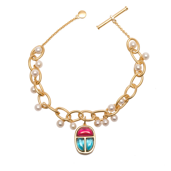 Link Bracelet Vermeil Gold with Scarab Amulet Charm and Pearls