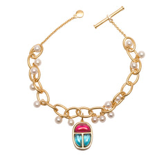 Ammanii Links Bracelet Vermeil Gold with Scarab Amulet Charm and Pearls
