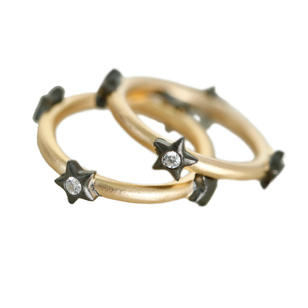Stackable Band Ring with Bezel Star Vermeil Gold