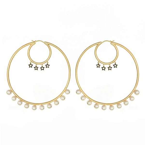 Statement Hoop Earrings with Stars and Pearls Vermeil Gold - AMMANII