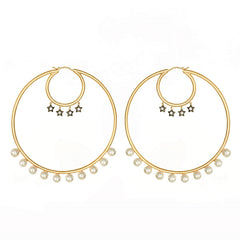 Statement Hoop Earrings with Stars and Pearls Vermeil Gold