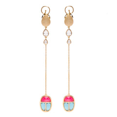 Drop Vermeil Gold Earrings with Gemstone Scarab Amulet