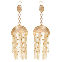 The Queen Nefertari Vermeil Gold Drop Earrings with Tassels