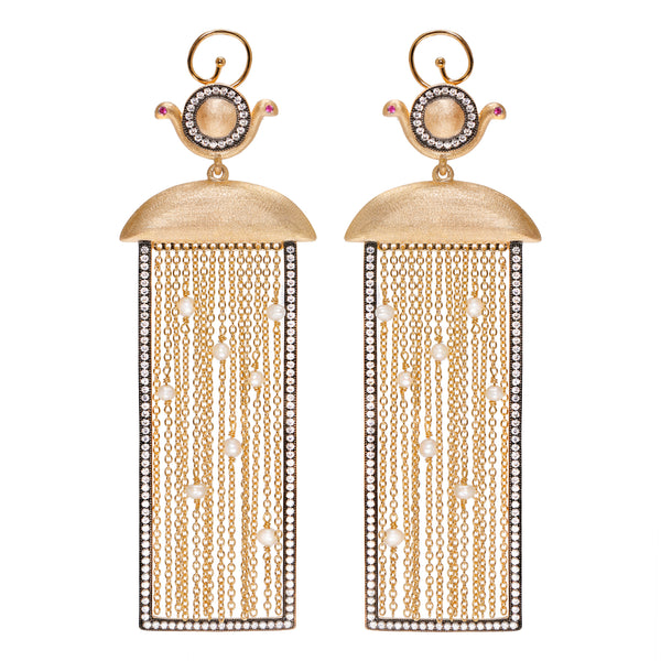 Ammanii Rectangular Shape Earrings with Pearls and Moving Tassels - AMMANII