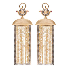 Wadjet Goddess Rectangular Drop with Tassels Vermeil Earrings