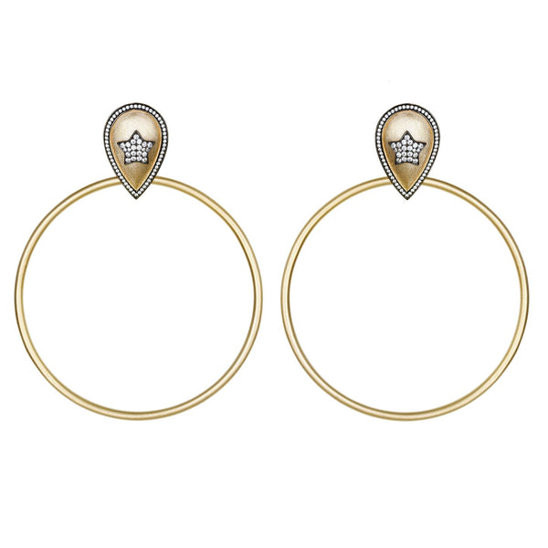 Ammanii Large Statement Pave Star Hoop Vermeil Gold Earrings