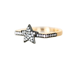 Ammanii Sparkling Pave Star Vermeil Gold Ring