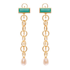 The Rebel Queen Nefertiti Drop Links Earrings with Pearls