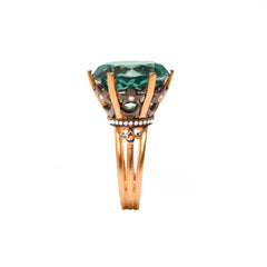 Green Topaz Statement Crown Ring in Vermeil Gold