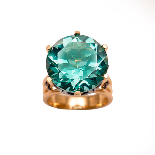 Ammanii Green Topaz Statement Crown Ring in Vermeil Gold