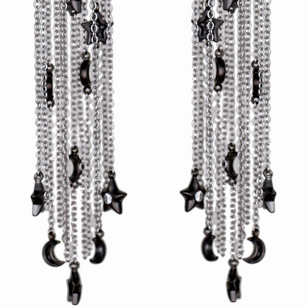 Ammanii Stars and Moons Drop Earrings with Tassels and Charms- Rhodium Finish