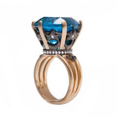 Ammanii Blue Topaz Crown Statement Ring in Vermeil Gold