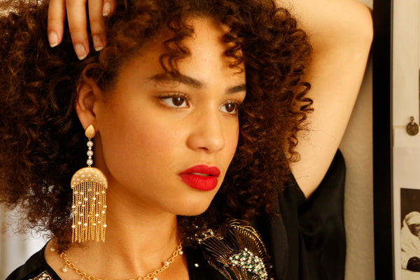 Statement Drop Earrings Vermeil with Freshwater Pearls and Tassels