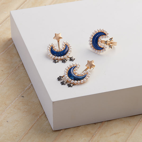 AMMANII Blue Lapis Moon and Pearl Ear Jacket Earrings with Stars in Vermeil Gold - AMMANII