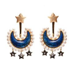 Ammanii Blue Lapis Moon and Pearl Ear Jacket Earrings with Stars in Vermeil Gold