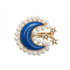 Ammanii Pearls and Lapis Lazuli Moon Ring in Vermeil Gold