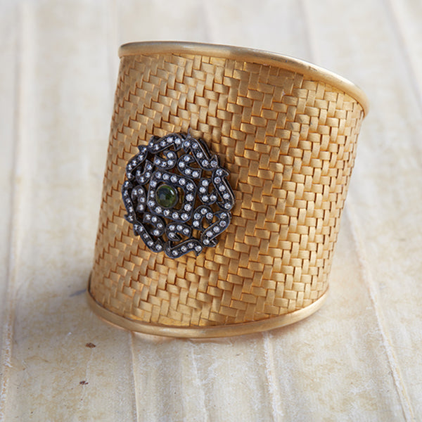 SAMMA WOVEN CUFF - Wide , AMMANII , Jewelry , Sterling Silver , Luxury , Handcrafted , gold plated , rhodium plated , amber jade , natural stone , clear cubic zirconia