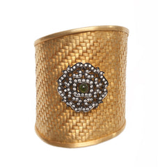 Hand Woven Vermeil Gold Cuff with Motif