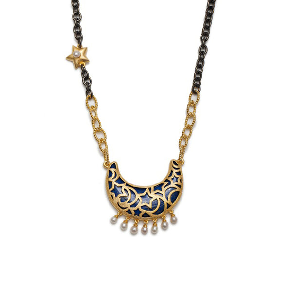 Sa'mma Lapis Moon Necklace , AMMANII , Jewelry , Sterling Silver , Luxury , Handcrafted , gold and black ruthenium , pearl , charms , chain