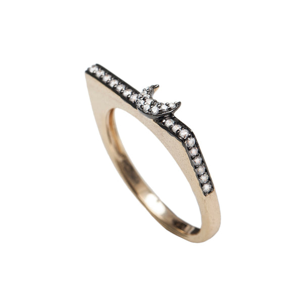 Sa'maa Stackable moon & Star Ring , AMMANII , Jewelry , Sterling Silver , Luxury , Handcrafted  , gold plated , rhodium , Matted finish , clear cubic zircon