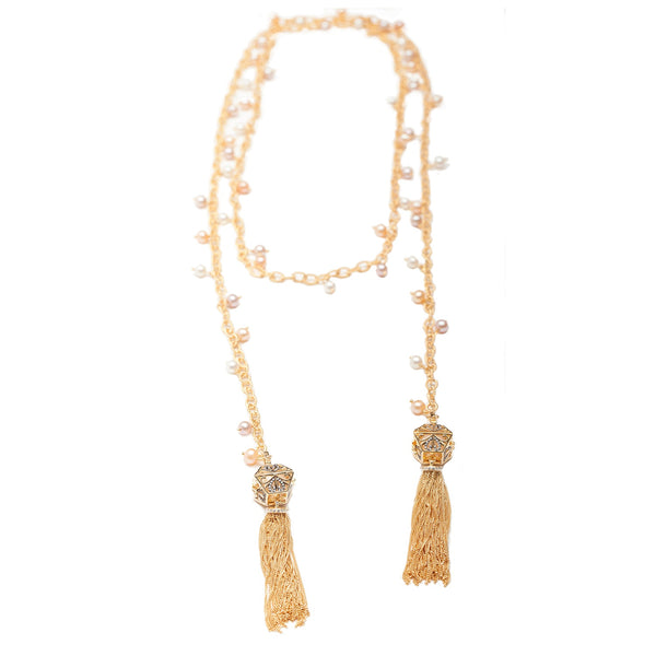 "Sa'mma Lariat with 120"" Lariat with pearls, Lanterns and  Tassels , AMMANII , Jewelry , Sterling Silver , Luxury , Handcrafted , pearl , design"