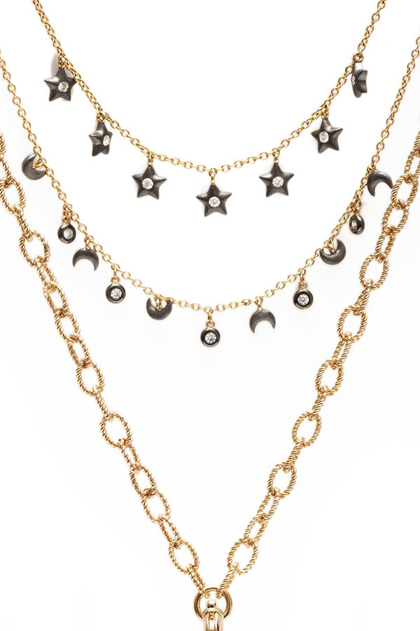 Sa'mma Moon and Stars Charm 3 tier Necklace , AMMANII , Jewelry , Sterling Silver , Luxury , Handcrafted , gold and ruthenium plated , removable star pendant , cubic zircon