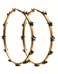 Large Hoop Earrings with Studded Stars in Vermeil Gold