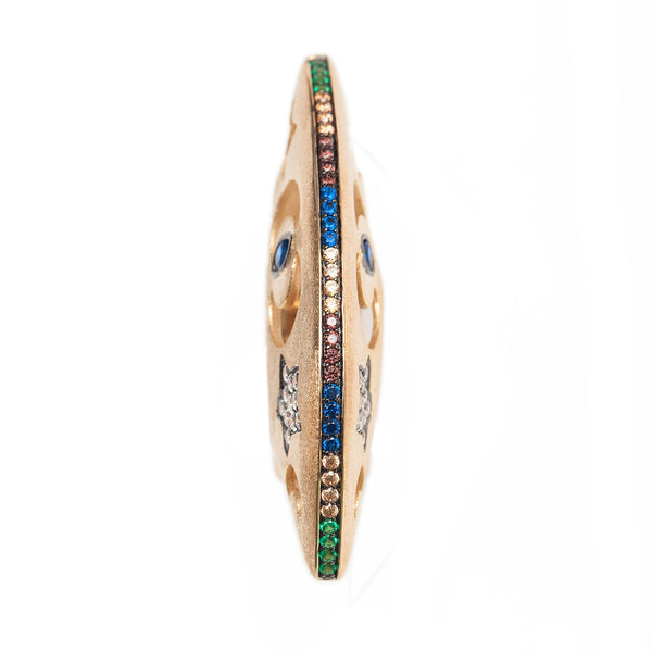 AMMANII Hand Carved Dome Ring in Vermeil Gold with Colored Gemstones - AMMANII