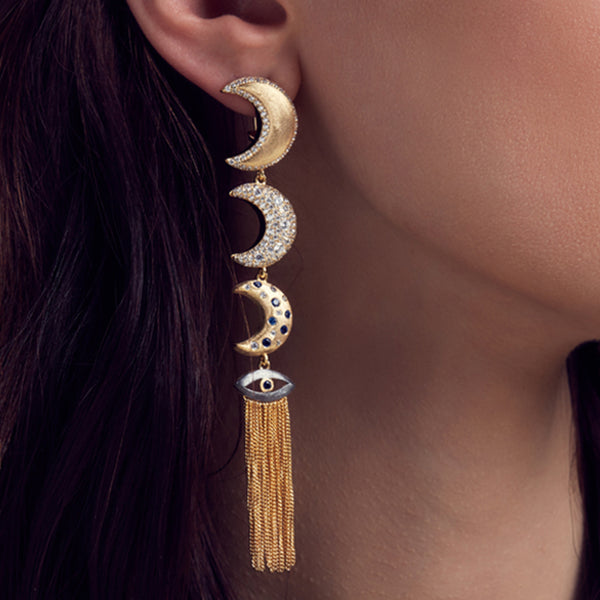 The Guardian Linear Earrings , AMMANII , Jewelry , Sterling Silver , Luxury , Handcrafted , moon , moons , yellow gold and black ruthenium plated , blue and clear cubic zircon
