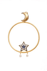 Star and Moon Hoop Earrings Vermeil Gold with Sapphire Blue Center Zircon