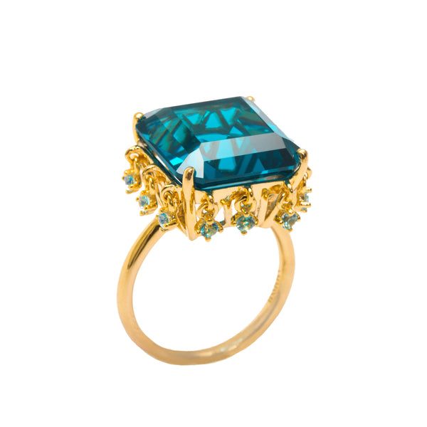Ammanii The Blue Topaz Queen Vermeil Gold Ring