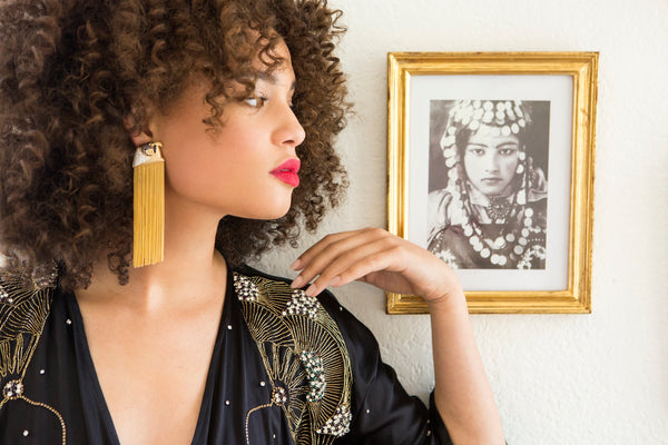 Ammanii Head Of Horus Statement Earrings Vermeil Gold with Long Tassels