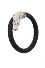 Ammanii Horse Head Stingray Bracelet with Platinum Plated Silver