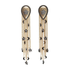 Pave Star Drop Earrings with Long Tassels and Charms Vermeil Gold