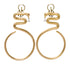 Ammanii Snake Hoop Vermeil Gold Statement Earrings with Tear Drop stone