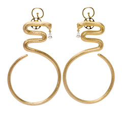 Snake Hoop Vermeil Gold Statement Earrings with Tear Drop stone