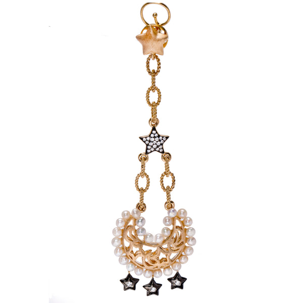 The Moon and Pave Star Drop Statement Earrings with Freshwater Pearls