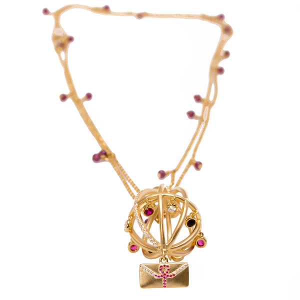 Message of Peace Necklace with Garnet Chain