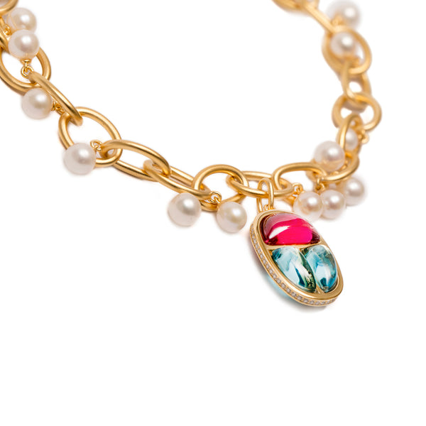 Link Bracelet Vermeil Gold with Scarab Amulet Charm and Pearls - AMMANII