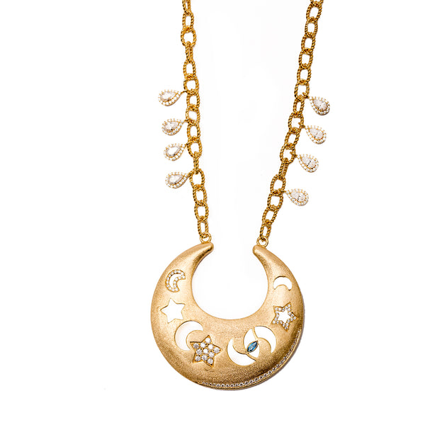 AMMANII Celestial Necklace with Moons, Stars and Protective Eye in Vermeil Gold - AMMANII