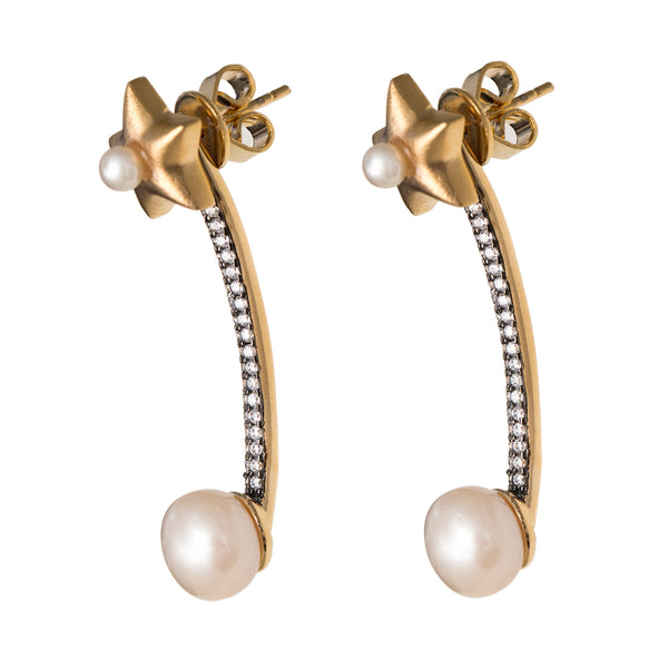 Star Jacket Earrings with Pearls and zircon in Vermeil Gold
