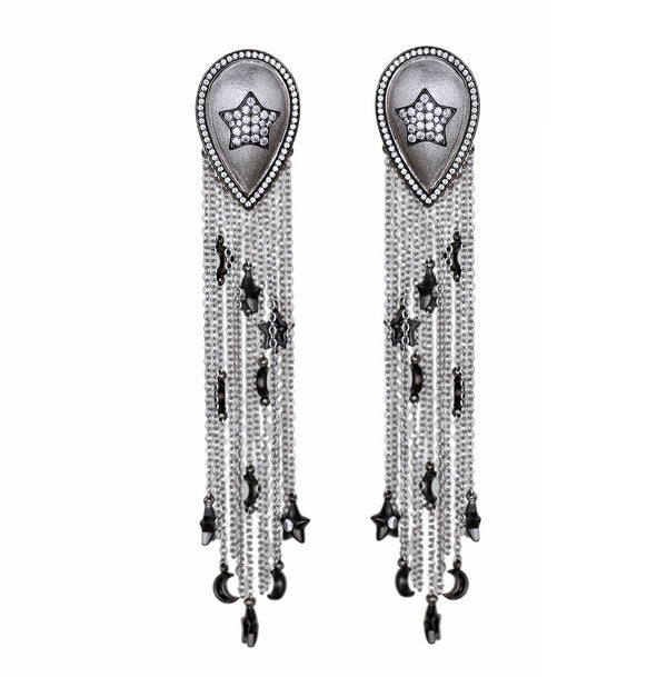 Ammanii Stars and Moons Drop Earrings with Tassels and Charms in Rhodium - AMMANII